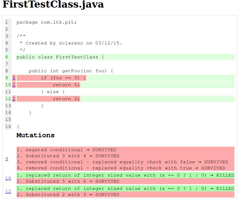 screenshot rapport de test