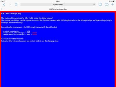 iOS7 iPad landscape test landscape